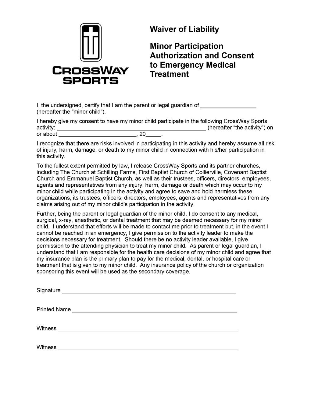 Waiver Form For Sports Erkalnathandedecker